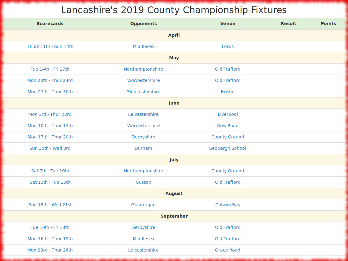 Devildogs County Championship 2019 Archive County Championship Fixtures
