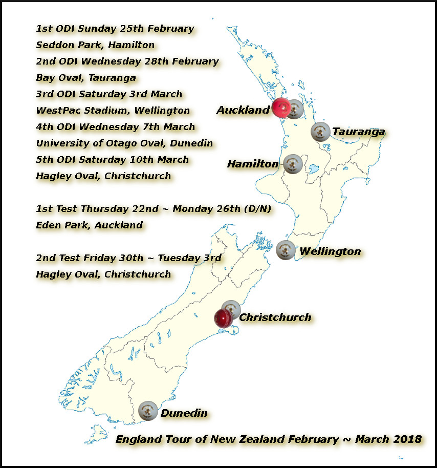 Devildogs England Tour of New Zealand Archive Map 2018