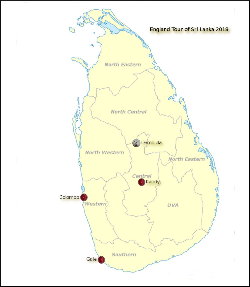 Devildogs England Tour of Sri Lanka Archive Map 2018