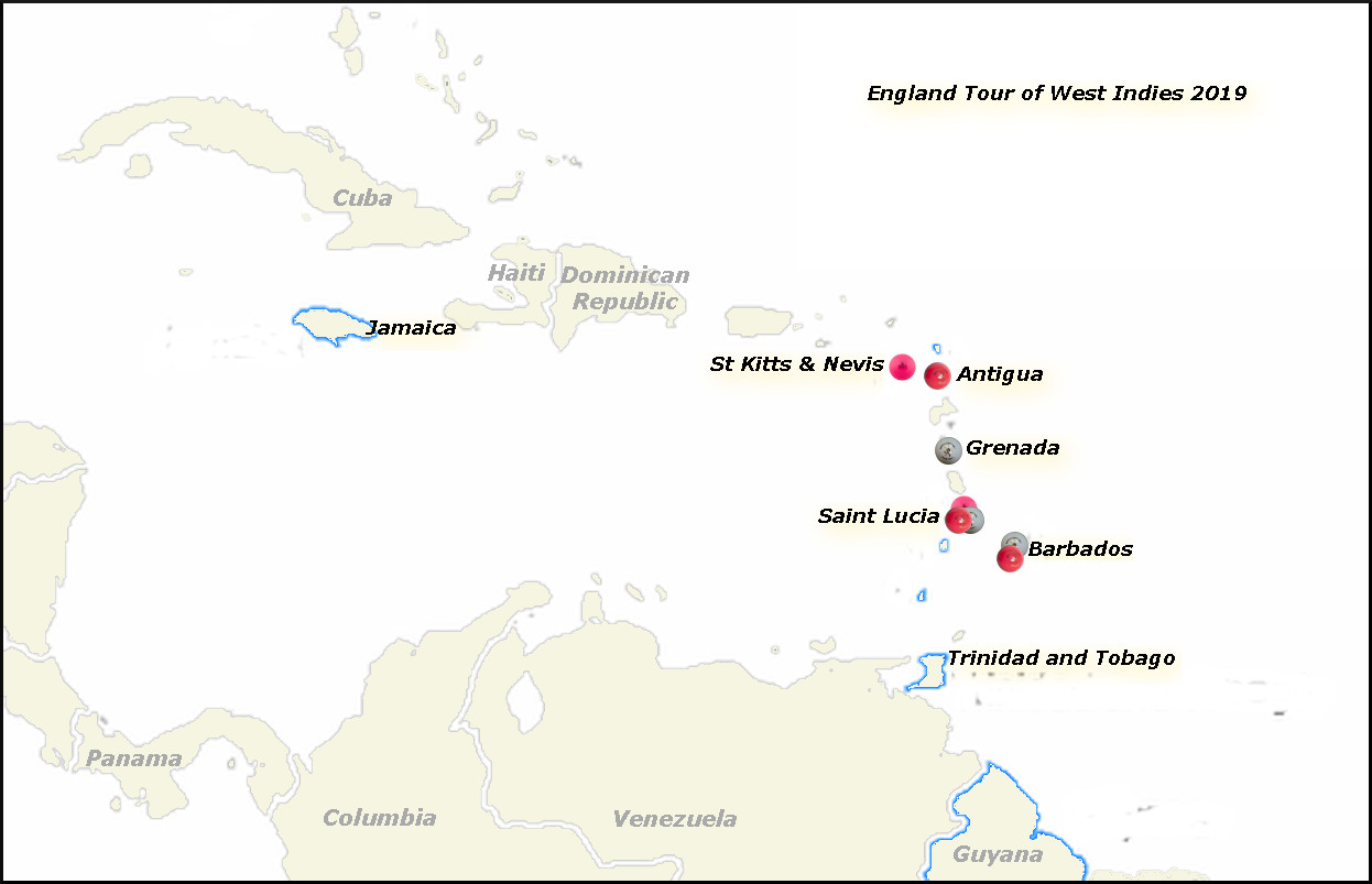 Devildogs England Tour of West Indies Archive Map 2019