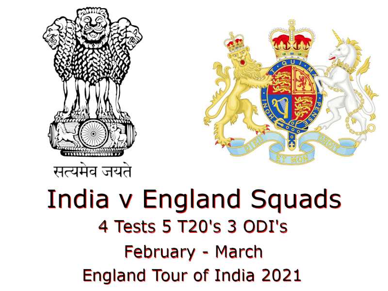 England Tour of India Squads