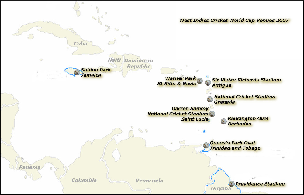 West Indies World Cup 2007 Venues Map